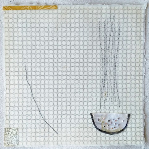 mixed media drawing with embroidery and beads on Japanese paper dipped in beeswax