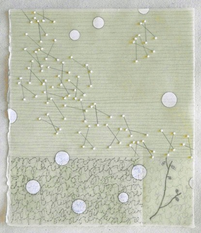mixed media drawing with beads on green Kitakata paper dipped in beeswax