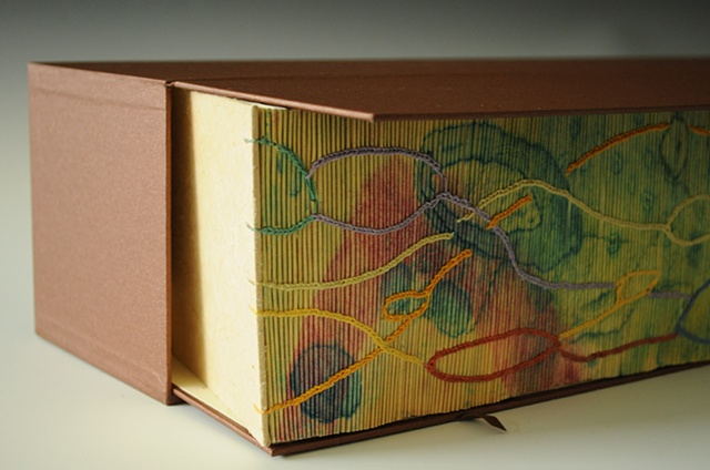 Artist Book bound with inventive coptic stitch over hand printed collagraph glued on each folio edge.