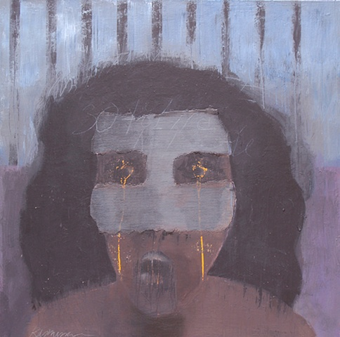 "Title: Mistaken Identity Latina Lifer  Medium: Acrylic And Corrugated Cardboard On Canvas  Dimensions: 48"" x 48""  Year: 2010"