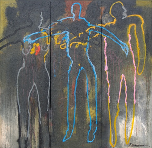 "Title: Quarrelsome Threesome  Medium: Acrylic And  Spray Paint On Canvas  Size: 72"" x 72"" (three joined panels)  Year: 2010"