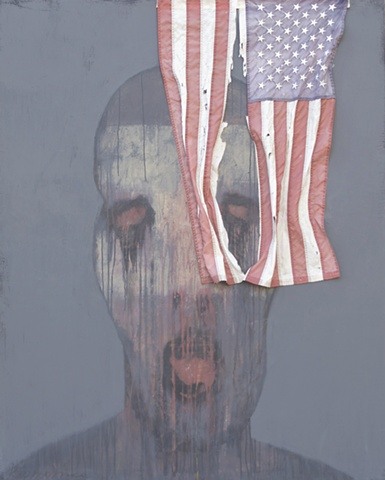 """Title: Ghetto Ghost 1 (With Found Object)  Medium: Acrylic And Flag On Canvas  Dimensions: 60"""" x 48""""  Year: 2011"""
