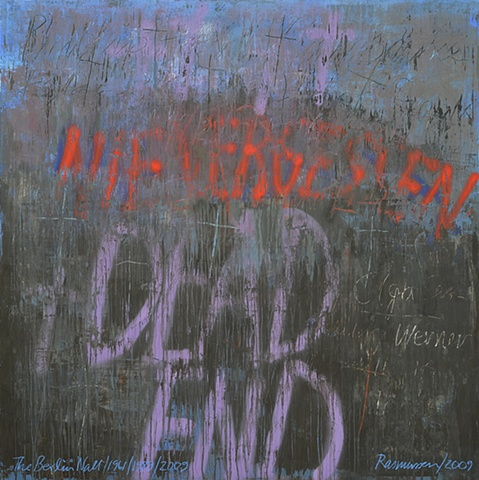 """Title: Nie Vergessen, Dead End  Medium: Acrylic, Spray Paint, Color Pencil And Oil Stick On Wood  Size: 72"""" x 72""""  Year: 2009"""