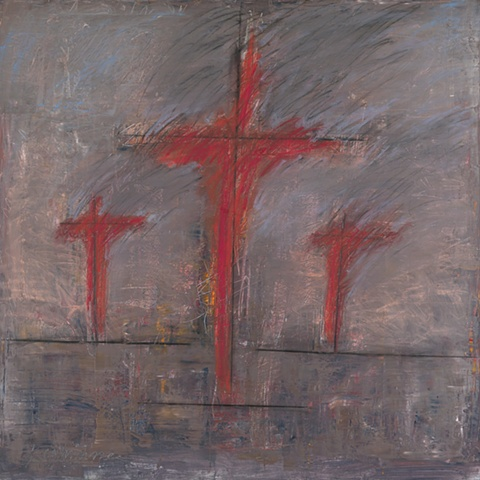 """Title: Crossfire  Medium: Oil, Oil Stick And Graphite On Canvas  Size: 48"""" x 48""""  Year: 2007"""