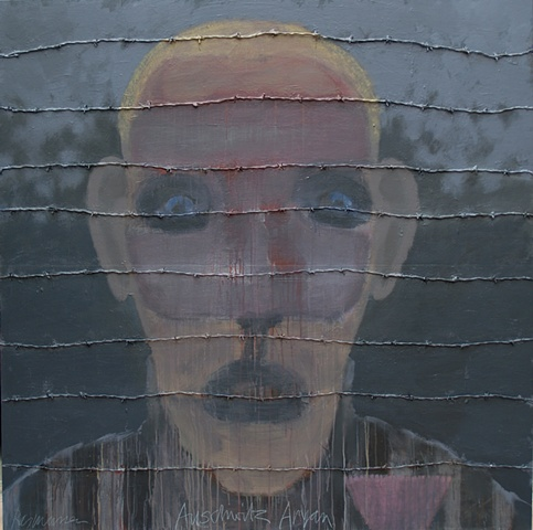 """Title: Auschwitz Aryan    Medium: Acrylic, Color Pencil And Barbed Wire On Wood Panel  Dimensions: 72"""" x 72""""  Year: 2010"""
