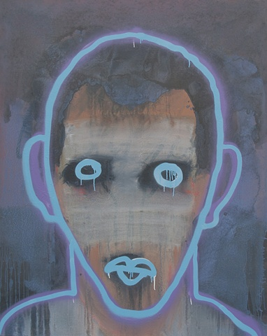 "Title: Neon Moron   Medium: Acrylic And Spray Paint On Canvas  Dimensions: 60"" x 48""  Year: 2010"