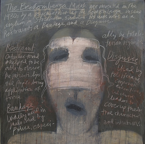 """Title: The Beckomberga Mask   Medium: Acrylic And Color Pencil On Canvas  Dimensions: 54"""" x 54""""  Year: 2010"""