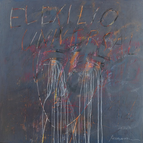 "Title: El Exilio Universal   Medium: Acrylic, Spray Paint And Color Pencil On Canvas  Dimensions: 48"" x 48""  Year: 2009"