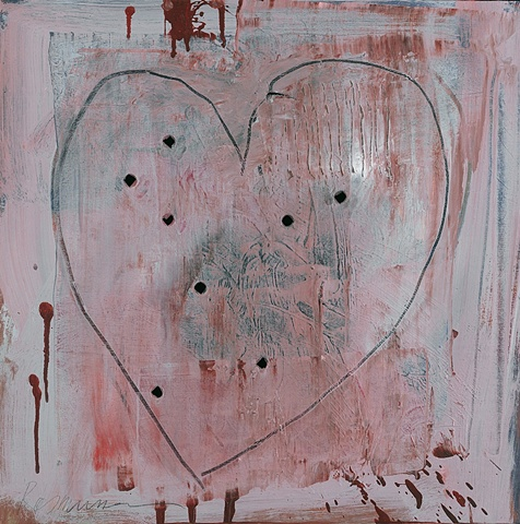 "Title: Bad Love  Medium: Acrylic On Canvas With Bullet-Hole Perforations  Size: 18"" x 18""  Year: 2009"