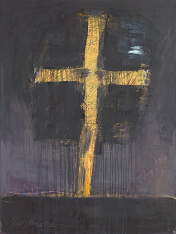 "Title: Night Cross  Medium: Oil And Graphite On Canvas  Size: 40"" x 30""  Year: 2007"