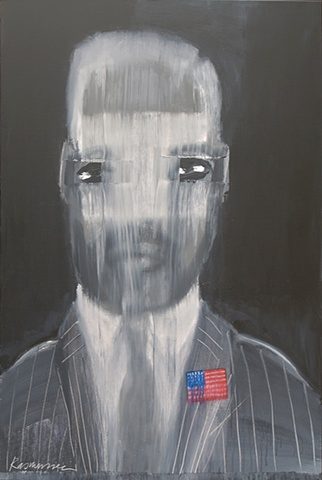 """Title: Pinstripe Patriot   Medium: Acrylic And Color Pencil On Canvas  Dimensions: 72"""" x 48""""  Year: 2010"""