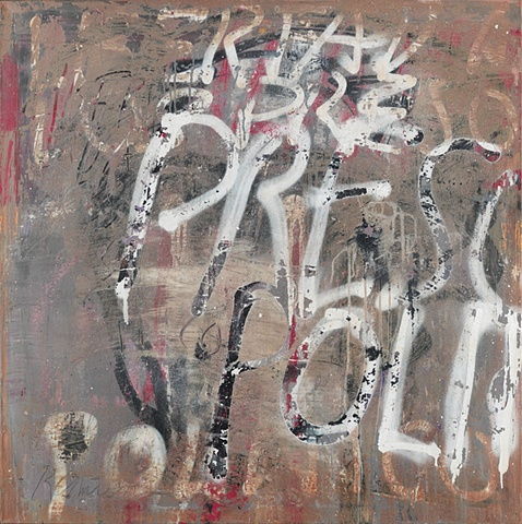"Title: Preso Politico  Medium: Acrylic And Spray Paint On Canvas  Dimensions: 36"" x 36""  Year: 2009"