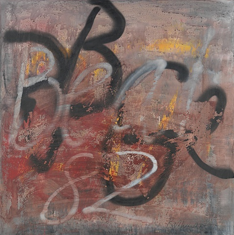 "Title: Beat  82  Medium: Acrylic And Spray Paint On Canvas  Size: 36"" x 36""  Year: 2010"