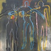"""Title: Quarrelsome Threesome  Medium: Acrylic And  Spray Paint On Canvas  Size: 72"""" x 72"""" (three joined panels)  Year: 2010"""