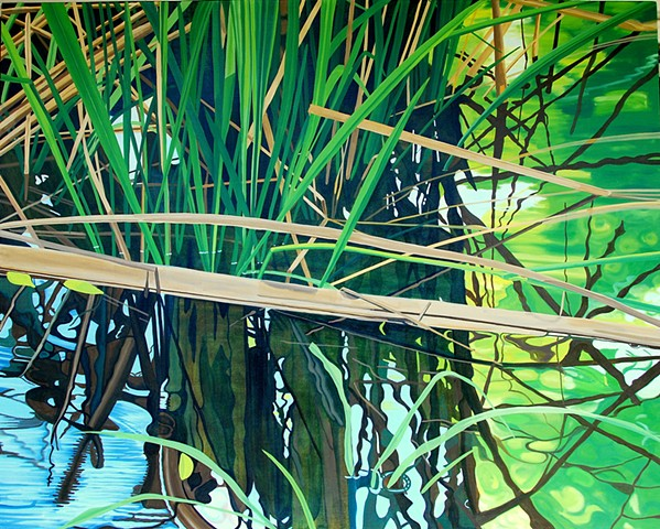 Large oil painting lake grasses