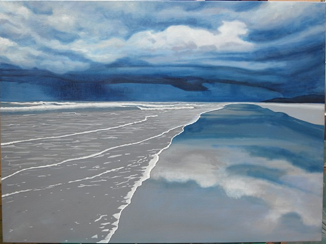 Oil painting of a storm off Crescent Beach