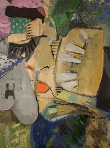 abstract, expressionism, contemporary art, small painting, face, heart, mouth, lips, teeth, dance, passion