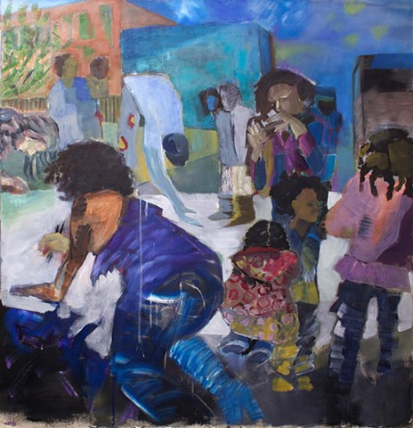 Children and adults of different races make art in Harlem together.