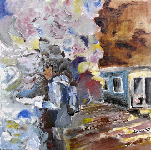 A person on a train platform, inspired by a dream