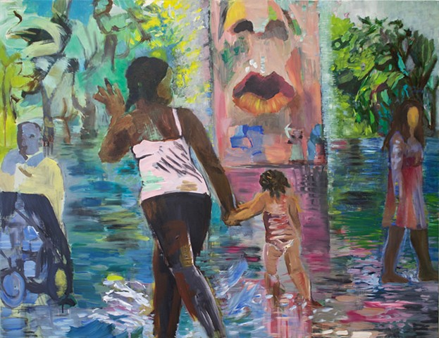 large painting, urban art, SUMMER, Millenium Park, Chicago, people, water