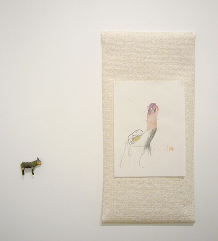 "Haeri Yoo, A Disappointing Ride, 2011 graphite, marker, collage on paper, 12x9""  shown with Horse, 2011 found object, 2x3x1"""