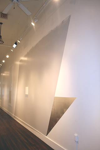Untitled, 2012 Vinyl house paint, aluminum leaf, and aged silver-leaf on wall dimensions variable, approx. 125 x 228""