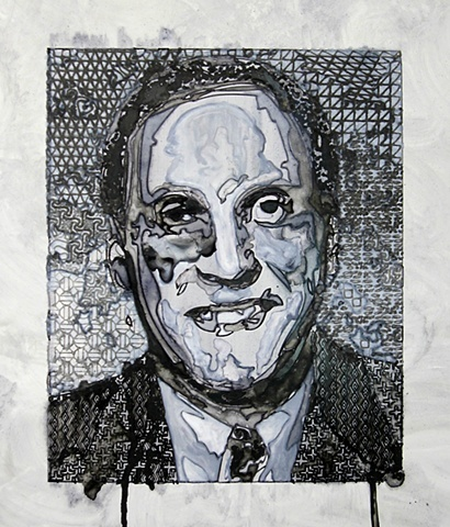 """Dick Fuld 2011 ink on paper  17 x 15"""" in found frame"""