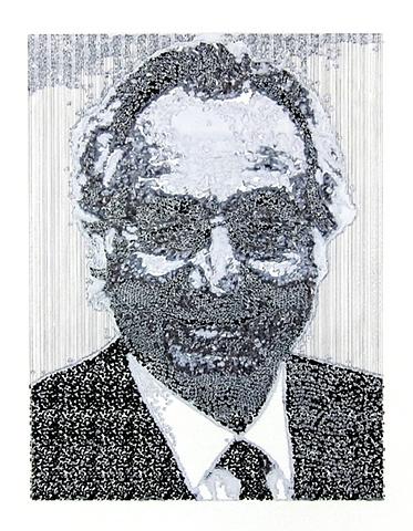 "Bernie Madoff 2011 ink on paper  17 x 15"" in found frame"