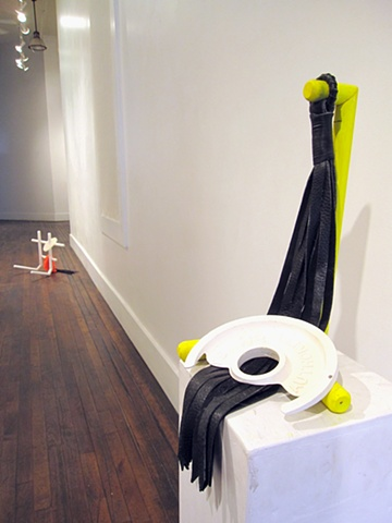 S. Authority, 2012  Wood, whip and plaster. 16 x 10 x 10 inches on pedestal 39 x 81/2 x 9 ½ inches