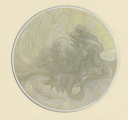 "Richard Iammarino, Untitled, 2010 silverpoint, gesso, pigment, and gouache on paper 8"" diameter, 16.5 x 16"" framed, NFS"