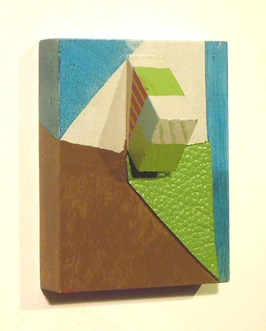 Kate Parnell, Untitled, 2011  oil, acrylic, and leather on wood structure, 5x4x3""