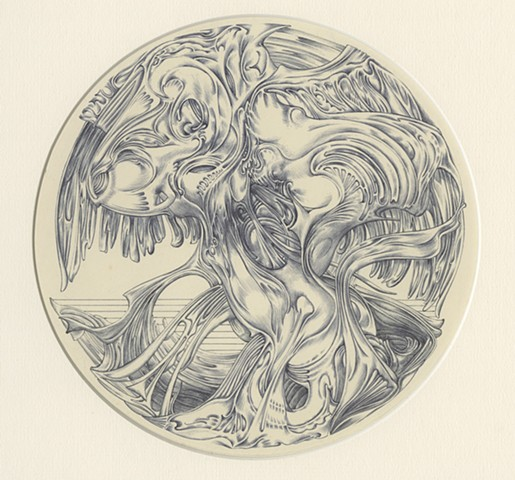 "Richard Iammarino, Untitled, 1970 ballpoint pen on paper 10"" diameter, 20.5 x 16.5"" framed"