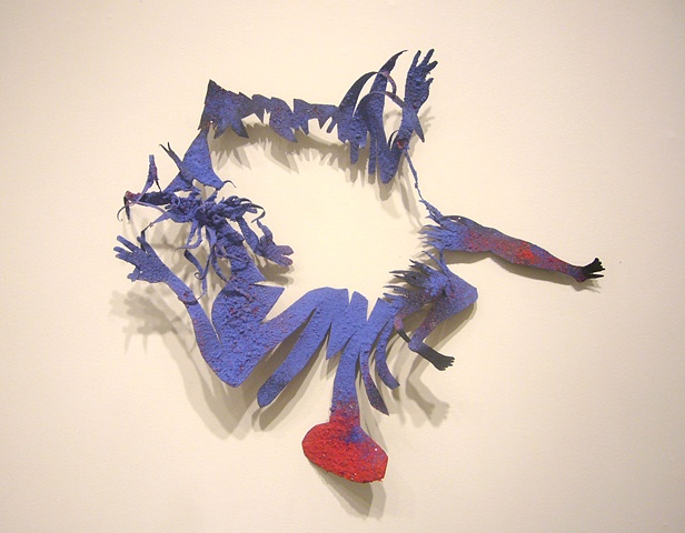 """...Ends, 2011 spray enamel, tempera, and flocking on aluminum, approx. 25x22x5"""""""