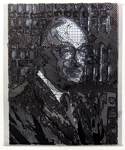 "Alan Greenspan 2011 ink on paper  17 x 15"" in found frame"