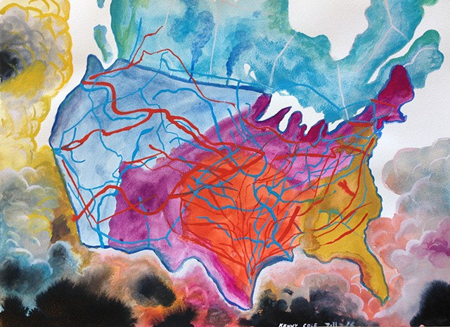 Map of America expressionistically painted