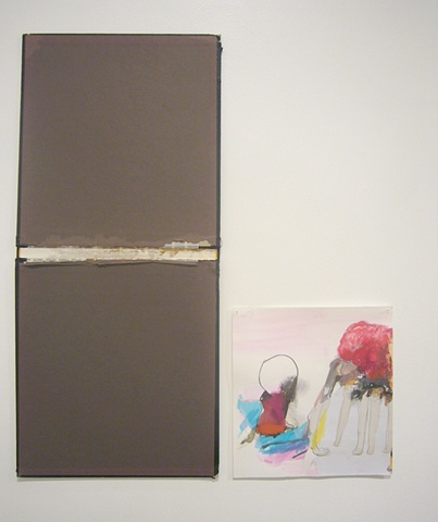 Haeri Yoo, Legs, 2011 graphite, wood, marker, colored pencil, collage on paper shown with Hard Book Cover, 2011 found object