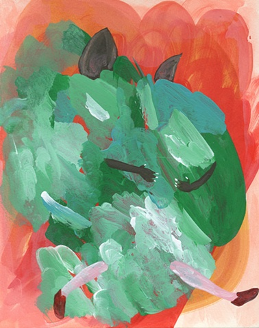 """Kate Parnell, Untitled (Mary Janes), 2011 acrylic and watercolor on paper, 10x8"""""""