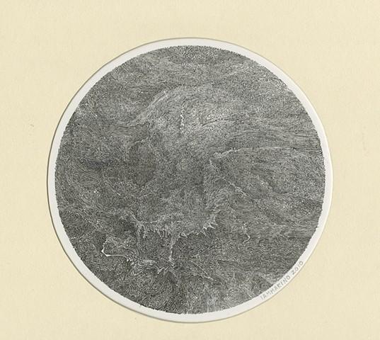 "Richard Iammarino, Untitled, 2010 ink on paper 8"" diameter, 16.5 x 16"" framed"