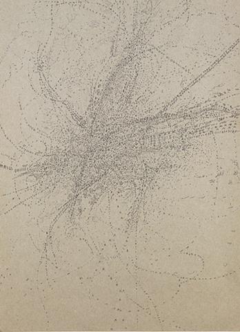 "Joshua Cardoso, Faster Solar Hand Motion, 2009 ink on paper, 16x11"""