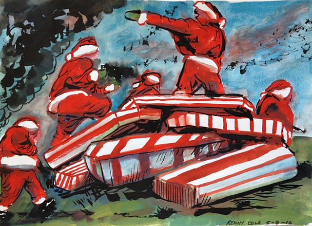 Santas clamoring over a piles of flag draped coffins