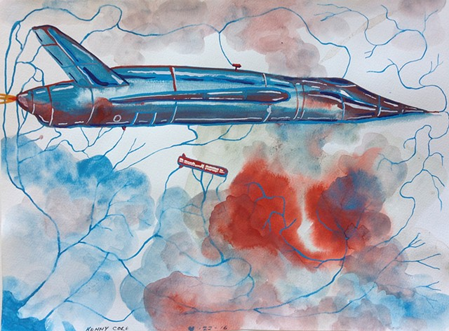 Expressionistic rendering of a B1 Bomber