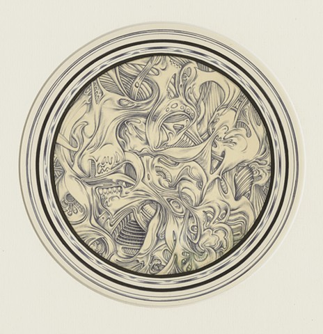 "Richard Iammarino, Untitled, 1970 ballpoint pen on paper  9"" diameter, 14.5 x 20"" framed"