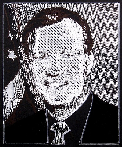 """Chris Cox 2011 ink on paper  17 x 15"""" in found frame"""