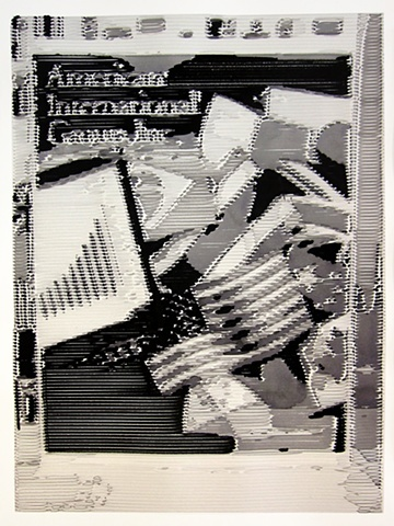 "AIG Annual Report 1999 2011, ink on paper with custom matting 25 x 29"" in found frame"
