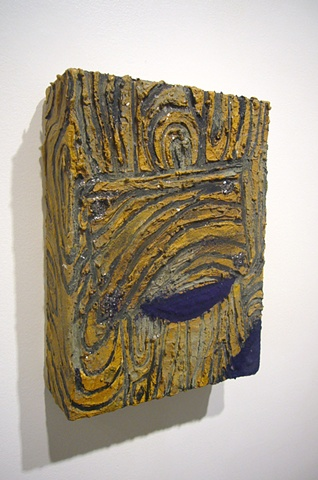 Cosmological Barn Door (Side View), 2011 oil, wax,tempera, flocking, and mica on canvas, 12x9x3""