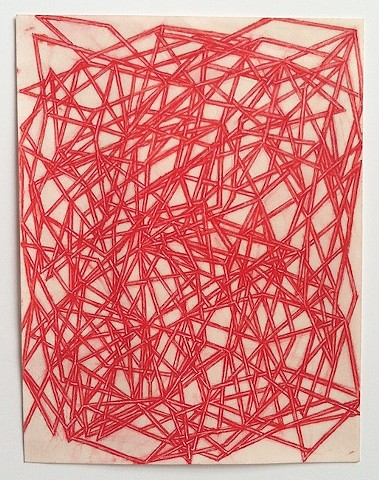 """Devin Powers  """"Thicket""""  2014 pigment and binder on parchment  7.5 x 5 inches"""