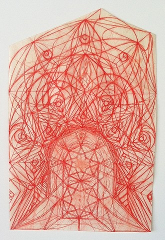 """Devin Powers """"Gate"""" 2014 pigment on parchment 7.5 x 5 inches"""