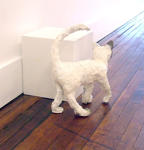 Cassie Raihl, Cat With a Green Foot, 2010, liquid plastic, bronze, and spraypaint, 16x17x7""