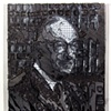 "Alan Greenspan 2011 ink on paper  17 x 15"" in found frame"