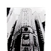 "AIA Tower From Below 2011, ink on paper with custom matting 25 x 29"" in found frame"